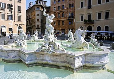 Fountain of Neptune, Piazza Navona, Rome, Latium, Italy, Europe
