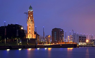 Grosser Leuchtturm Lighthouse, Alter Hafen Harbour, Bremerhaven, Bremen, Germany, Europe