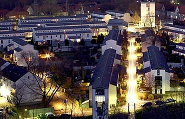 Schuengelberg housing estate at night, international construction exhibition, Gelsenkirchen, Ruhr area, North Rhine-Westphalia, Germany, Europe