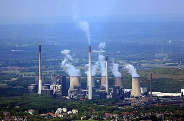 Scholven coal power station, aerial picture, Gelsenkirchen, Ruhr area, North Rhine-Westphalia, Germany, Europe