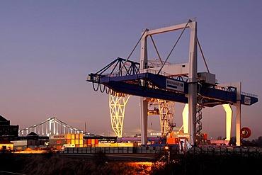 Krefeld harbour on Rhine River, Krefeld, North Rhine-Westphalia, Germany, Europe