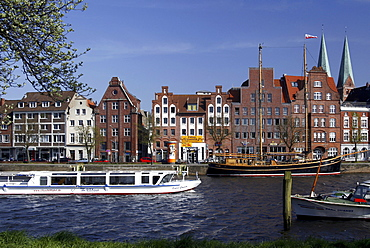 Hanseatic mansions and former warehouses at the Trave river, Hanseatic City of Luebeck, Schleswig-Holstein, Germany, Europe