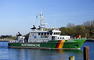 Coast guard ship in the port of Travemuende, Hanseatic City of Luebeck, Holstein, Schleswig-Holstein, Germany, Europe