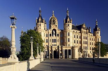 Schweriner Schloss castle, seat of the Landtag parliament of Mecklenburg-Western Pomerania, Schwerin, Mecklenburg-Western Pomerania, Germany, Europe