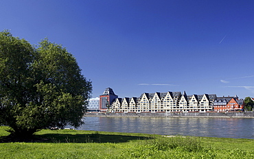 Siebengebirge and Silo 23, storehouses converted into homes and offices at the Rheinauhafen harbour, Cologne, Rhineland, North Rhine-Westphalia, Germany, Europe