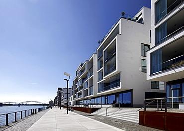 Residential building Wohnwer(f)t and promenade at the Rheinauhafen harbour, Cologne, Rhineland, North Rhine-Westphalia, Germany, Europe