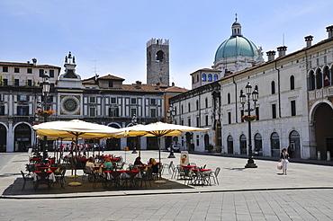Piazza della Loggia, cathedral in the back, Brescia, Lombardy, Italy, Europe