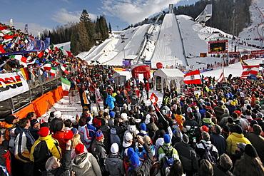 Slalom on Gudiberg mountain, Ski World Cup, winter sports, grandstand, spectators, Garmisch Partenkirchen, Upper Bavaria, Bavaria, Germany, Europe