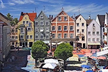 Marienplatz square, 1909, Wassily Kandinsky, the world's largest Kandinsky, artists Florian Lechner and Annette Koelbl-Rill, Weilheim, Upper Bavaria, Bavaria, Germany, Europe