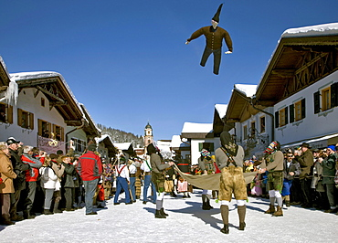 """""""Jacklschutzer, Jagglschutzer, Jaklschutzer"""" group in traditional costumes, carnival, Mittenwald, Werdenfels, Upper Bavaria, Bavaria, Germany, Europe"""