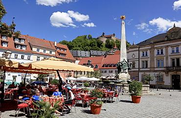 Luitpoldbrunnen fountain on the market square of Kulmbach, Upper Franconia, Bavaria, Germany, Europe