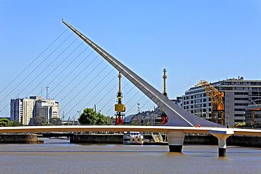 The Woman's Bridge, Puente de la Mujer, architect Santiago Calatrava, Puerto Madero district, Buenos Aires, Argentina, South America