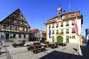 Town hall of Roettingen in the Taubertal valley near Wuerzburg, Lower Franconia, Bavaria, Germany, Europe