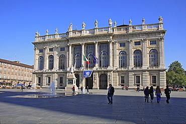 Baroque facade of the Palazzo Madama on Piazza Castello, Turin, Torino, Piedmont, Italy, Europe