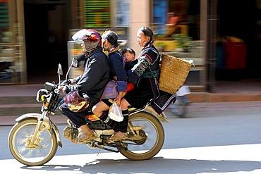 Four Vietnames people on a moped, Sapa, Sa Pa, Lao Cai province, North Vietnam, Southeast Asia