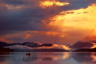 Fishermen in small boats at first light, Walchensee lake, Kochel, Upper Bavaria, Bavaria, Germany, Europe