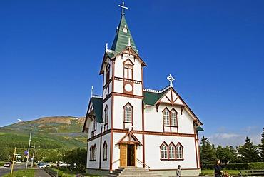 Village church, nature reserve, Flatey island, Flatey, Iceland, Europe