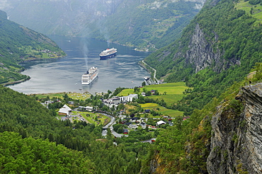 View of the village of Geiranger with cruise ships on the Geirangerfjord, Norway, Scandinavia, Europe