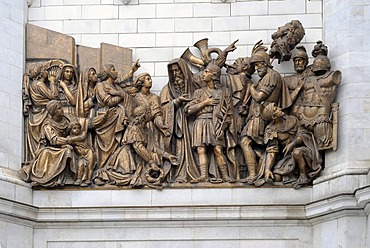 Fragment of facade with high relief of a Bible scene, Cathedral of Christ the Saviour, Moscow, Russia