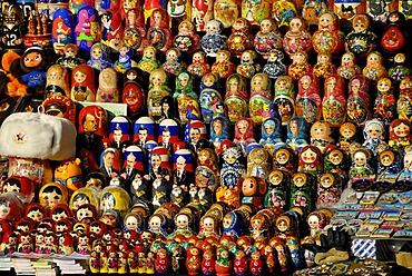 Many Matryoshka dolls or Russian nested dolls, street market, Moscow, Russia