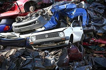 Old cars at a scrap yard