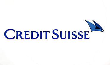 Logo at the headquarters of the Credit Suisse Deutschland AG bank in Frankfurt am Main, Hesse, Germany, Europe