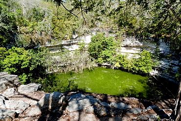 Cenote, holy spring, Cenote Sagrado in Chichen Itza, Yucatan, Mexico, Central America