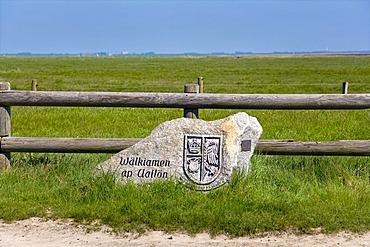 Welcome stone with frisian writing, Hallig Oland, North Frisia, Schleswig-Holstein, Germany, Europe