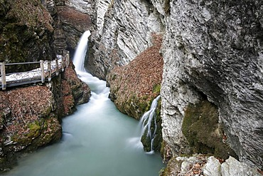 Thur waterfalls with high water levels at the beginning of the snow melt, Toggenburg, St. Gallen, Switzerland, Europe