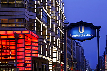 The new shopping area of the capital, with illuminated Quartier 206 and the entrance to the underground station Franzoesische Strasse, Friedrichstrasse, Berlin, Germany, Europe