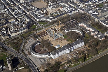 Aerial photo, building site for the BUGA Federal horticulture show 2011 next to the Kurfuerstliche Schloss Electoral Palace, Koblenz, Rhineland-Palatine, Germany, Europe