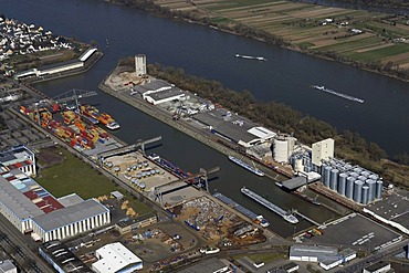 Aerial photo, industrial port on the river Rhine, Koblenz, Rhineland-Palatine, Germany, Europe