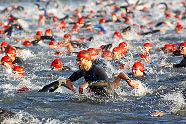 Triathlon, swimming competition, Ironman Germany, Frankfurt, Hesse, Germany, Europe