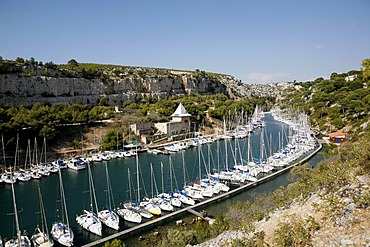 Marina, sport's boat harbour, Les Calanques harbour near Cassis, Southern France, Europe