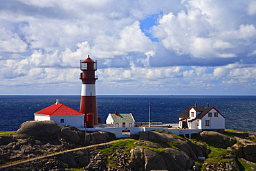 Ryvingen Fyr lighthouse on island, southern Norway, Norway, Europe