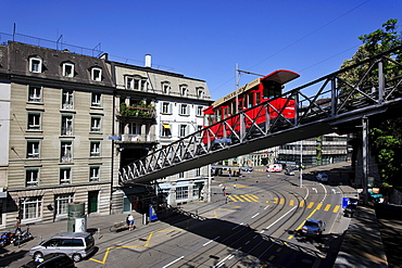 Polybahn crossing the street from Central Square to the University, Zurich, Switzerland, Europe