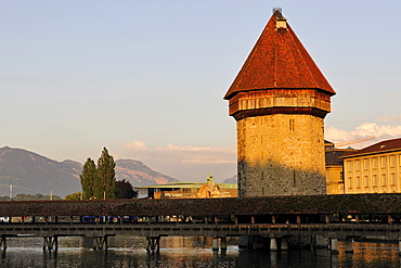 """Kapellbruecke, """"Chapel Bridge"""", across Reuss River in Lucerne with the Culture- and Convention Center KKL, Canton of Lucerne, Switzerland, Europe"""