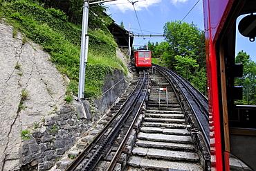 Cog railway to Mount Pilatus, popular tourist's destination in the Alpnachstad region near Lucerne, Switzerland, Europe