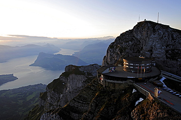 The Hotel Bellevue on the Mount Pilatus excursion mountain in the early morning with a view of Lake Lucerne, in Lucerne, Switzerland, Europe