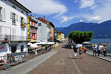 Promenade of Ascona on Lago Maggiore lake, Ticino, Switzerland, Europe