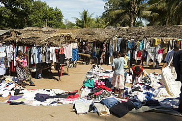 Second hand clothing market, the import of donated clothing presents competition for the local tailoring businesses, Quelimane, Mozambique, Africa