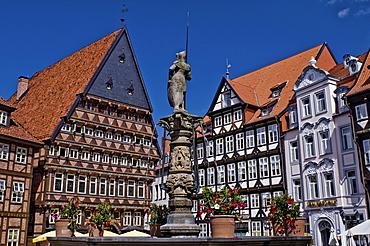 Square with fountain, Knochenhaueramtshaus butcher's guild house and Stadtschaenke city tavern, Hildesheim, Lower Saxony, Germany, Europe