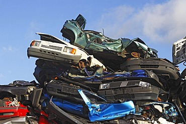 Pressed cars, scrappage premium, cars on a junkyard, old cars, wrecked cars, scrap metal, Germany