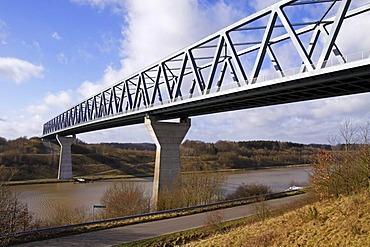 "Bridge crossing the Nord-Ostsee-Kanal, Kiel-Canal, ""Gruenentaler Hochbruecke"", Gruenental, district Rendsburg-Eckernfoerde, Schleswig-Holstein, Germany,"