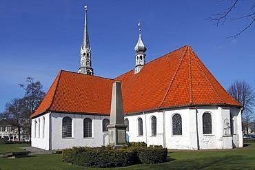 Historical St. Juergen church at the market place in Heide, Dithmarschen, Schleswig-Holstein, Germany,