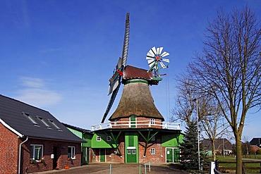 """Old windmill """"Gott mit uns"""", God with us, in Eddelak built in typical dutch style, district Dithmarschen, Schleswig-Holstein, Germany,"""