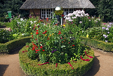 Low German cottage garden with a rondel, box hedge, Garden phlox (Phlox paniculata) and other summer flowers, Botanical Garden Hamburg, Germany, Europe