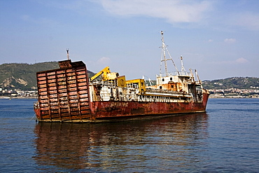 Sunken cargo ship in the port of Bacoli, Pozzuoli, Naples, Italy, Europe