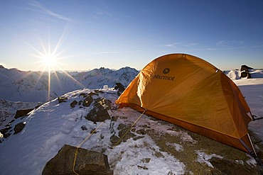 Tent on the top of Mt Brunnenkogel, Oetztal Alps, North Tyrol, Austria, Europe