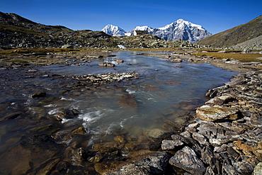 Mt. Ortler, mountain stream, Sulden, Ortler mountain range, Stelvio National Park, South Tyrol, Italy, Europe